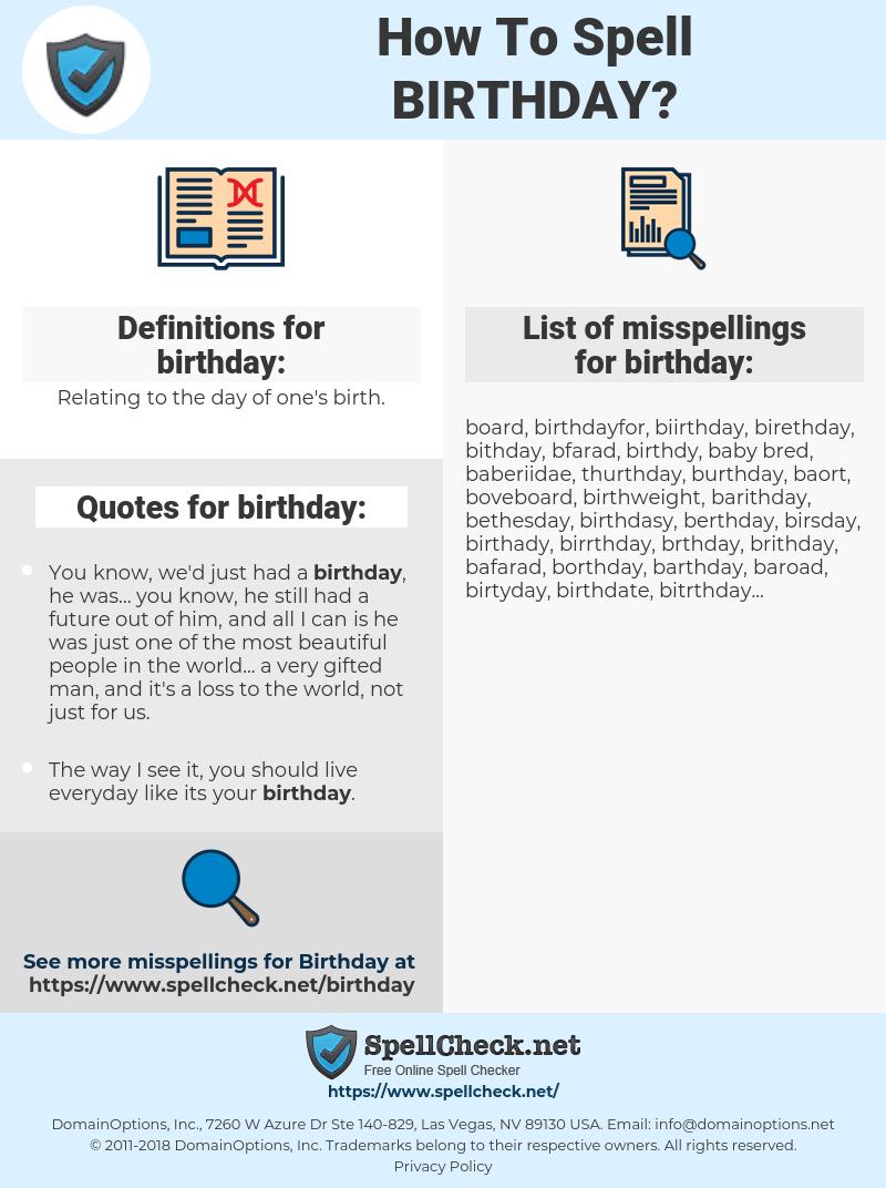 birthday, spellcheck birthday, how to spell birthday, how do you spell birthday, correct spelling for birthday
