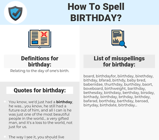 birthday, spellcheck birthday, how to spell birthday, how do you spell birthday, correct spelling for birthday