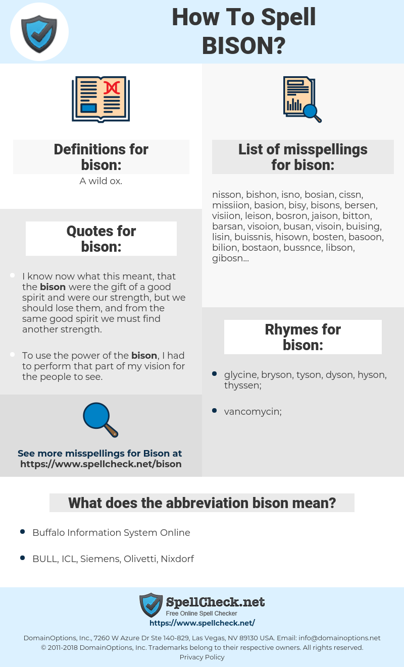 bison, spellcheck bison, how to spell bison, how do you spell bison, correct spelling for bison
