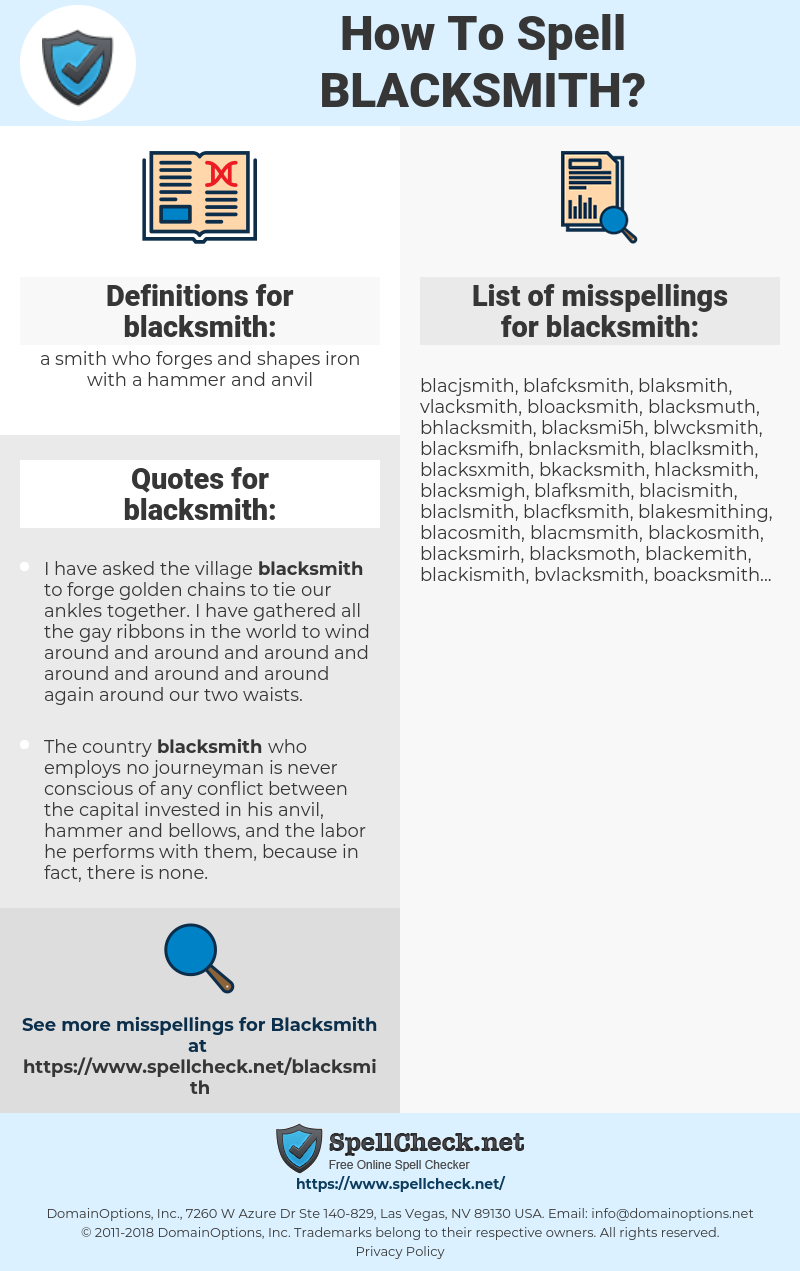 How To Spell Blacksmith (And How To Misspell It Too) | Spellcheck net