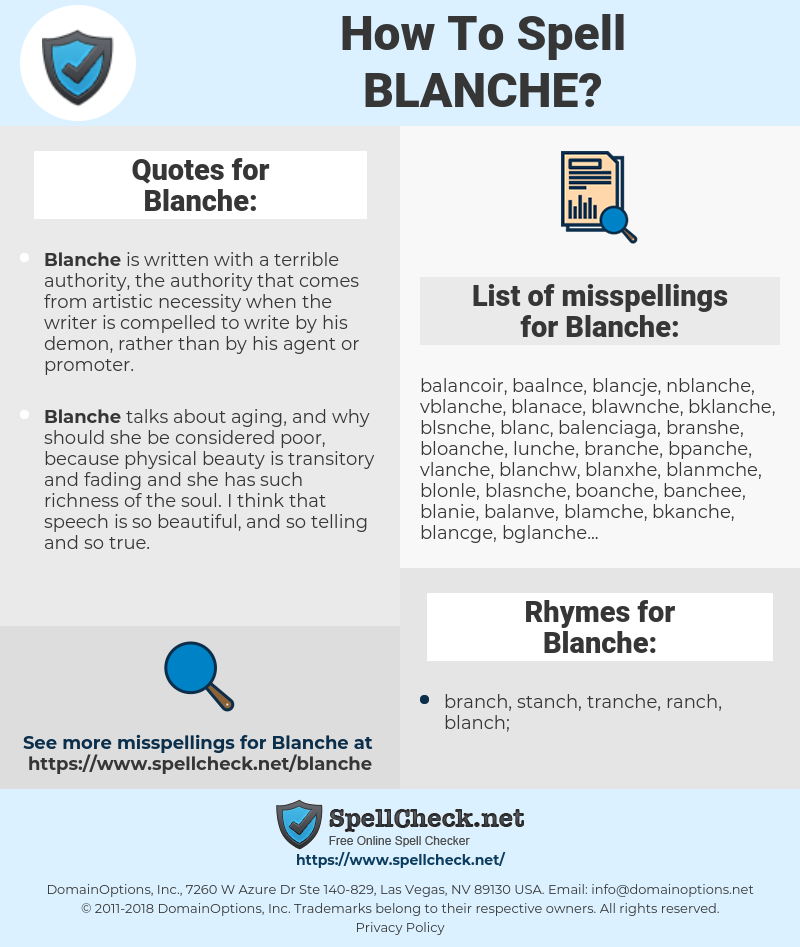 Blanche, spellcheck Blanche, how to spell Blanche, how do you spell Blanche, correct spelling for Blanche