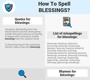 blessings, spellcheck blessings, how to spell blessings, how do you spell blessings, correct spelling for blessings