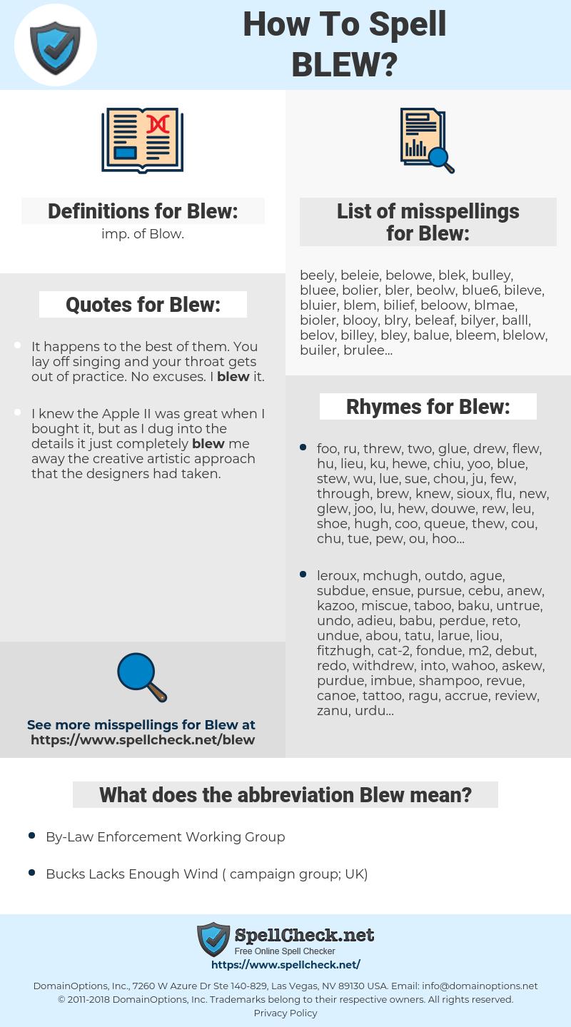 Blew, spellcheck Blew, how to spell Blew, how do you spell Blew, correct spelling for Blew
