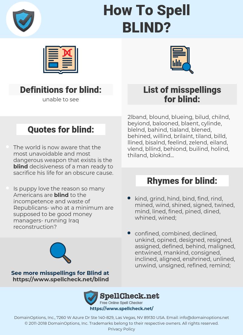 blind, spellcheck blind, how to spell blind, how do you spell blind, correct spelling for blind