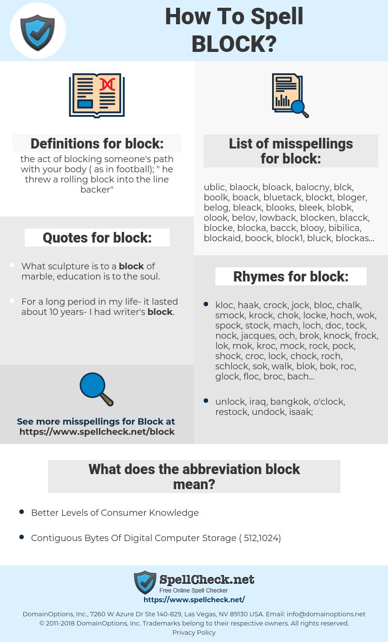 block, spellcheck block, how to spell block, how do you spell block, correct spelling for block