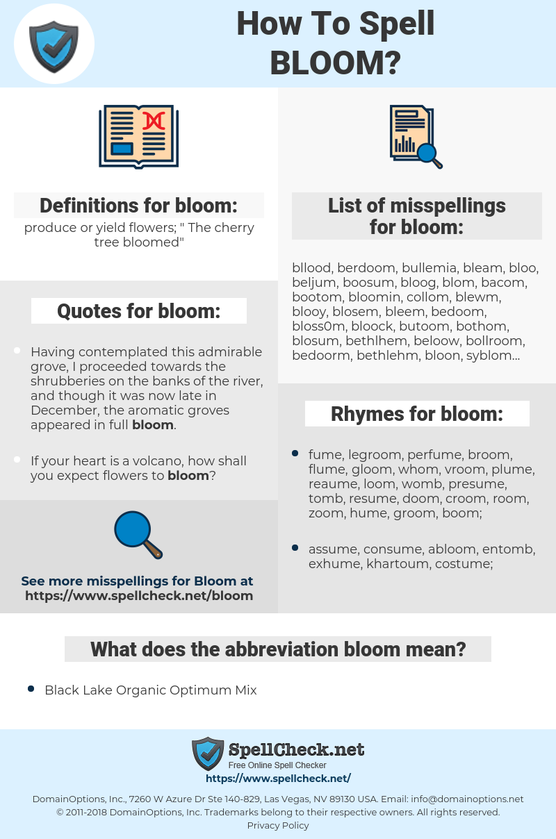 bloom, spellcheck bloom, how to spell bloom, how do you spell bloom, correct spelling for bloom