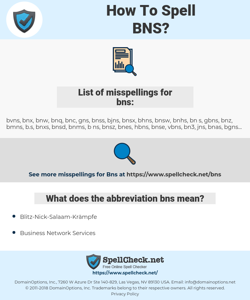 bns, spellcheck bns, how to spell bns, how do you spell bns, correct spelling for bns