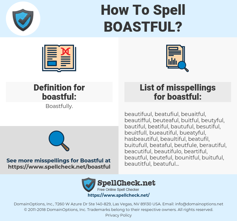 boastful, spellcheck boastful, how to spell boastful, how do you spell boastful, correct spelling for boastful