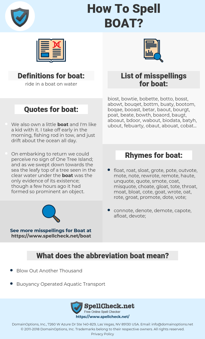 boat, spellcheck boat, how to spell boat, how do you spell boat, correct spelling for boat