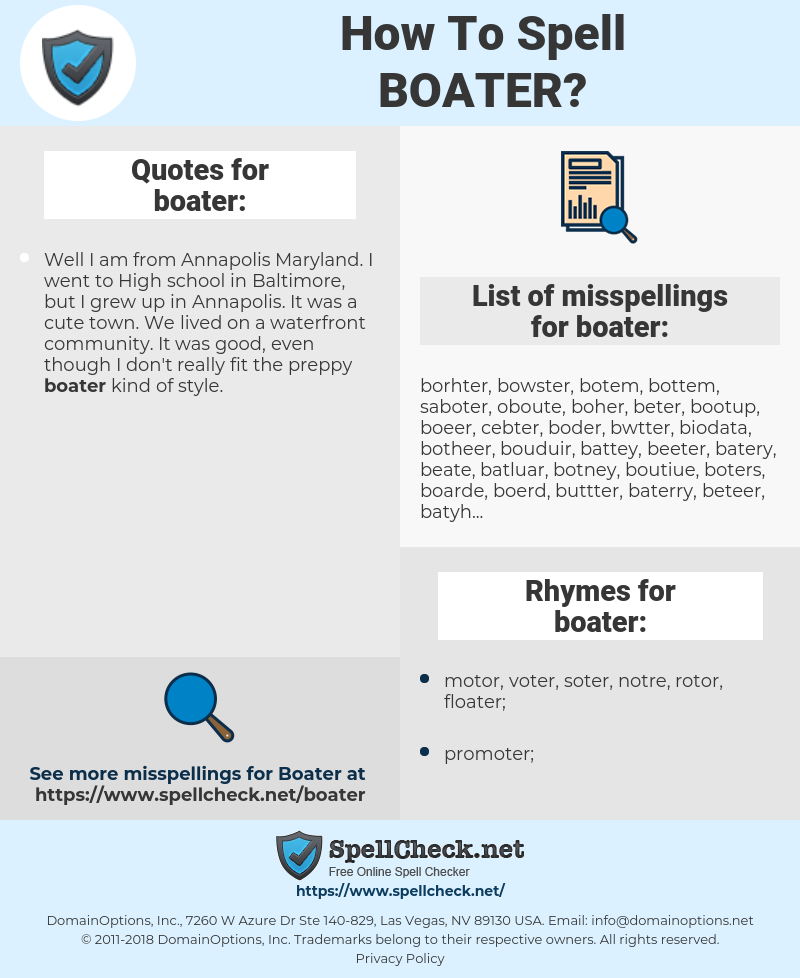 boater, spellcheck boater, how to spell boater, how do you spell boater, correct spelling for boater