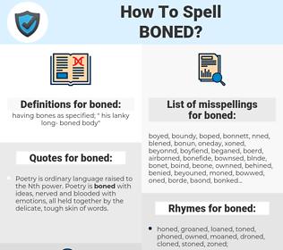 boned, spellcheck boned, how to spell boned, how do you spell boned, correct spelling for boned