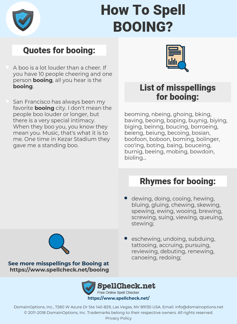 booing, spellcheck booing, how to spell booing, how do you spell booing, correct spelling for booing