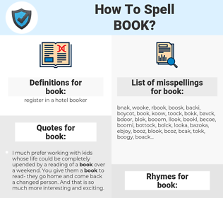 book, spellcheck book, how to spell book, how do you spell book, correct spelling for book