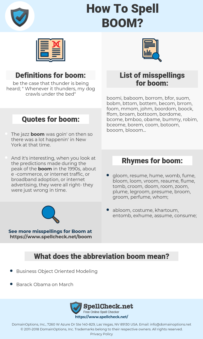 boom, spellcheck boom, how to spell boom, how do you spell boom, correct spelling for boom