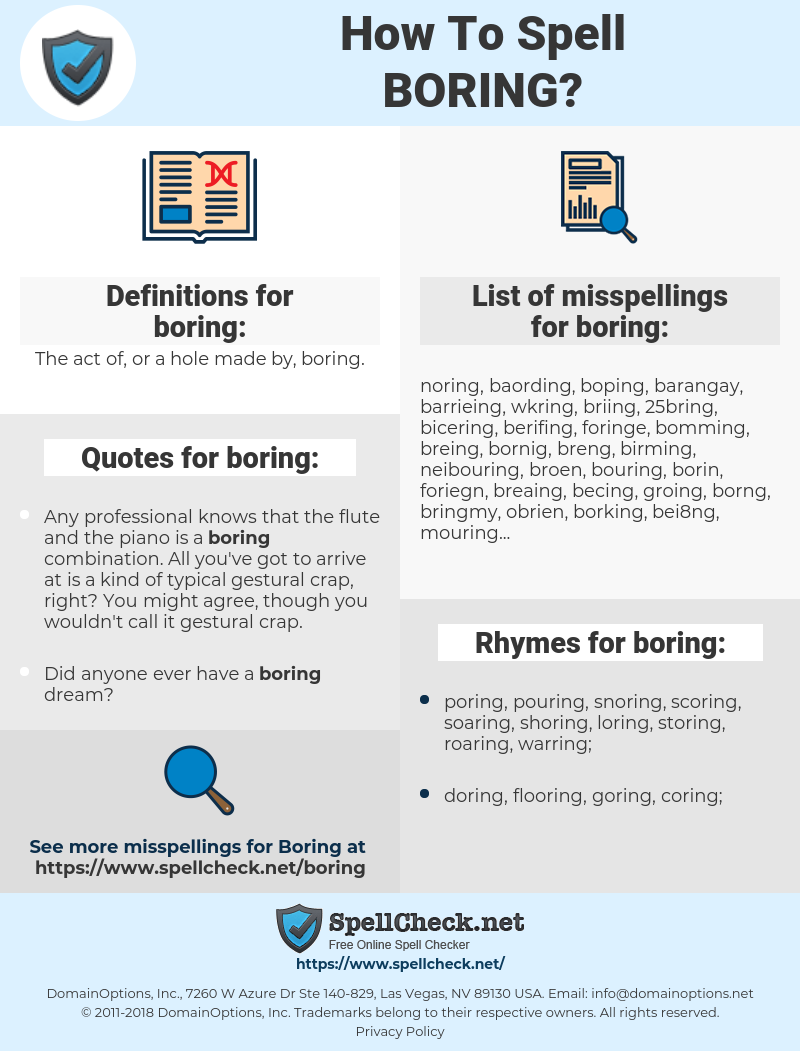 boring, spellcheck boring, how to spell boring, how do you spell boring, correct spelling for boring
