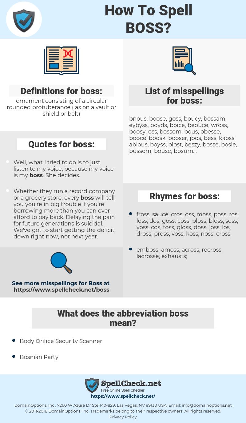 boss, spellcheck boss, how to spell boss, how do you spell boss, correct spelling for boss