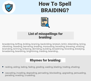 braiding, spellcheck braiding, how to spell braiding, how do you spell braiding, correct spelling for braiding