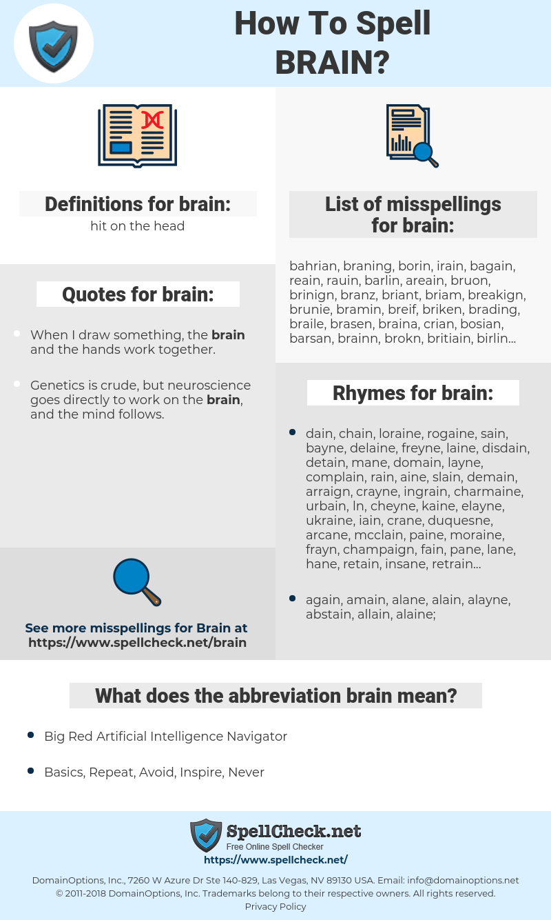 brain, spellcheck brain, how to spell brain, how do you spell brain, correct spelling for brain