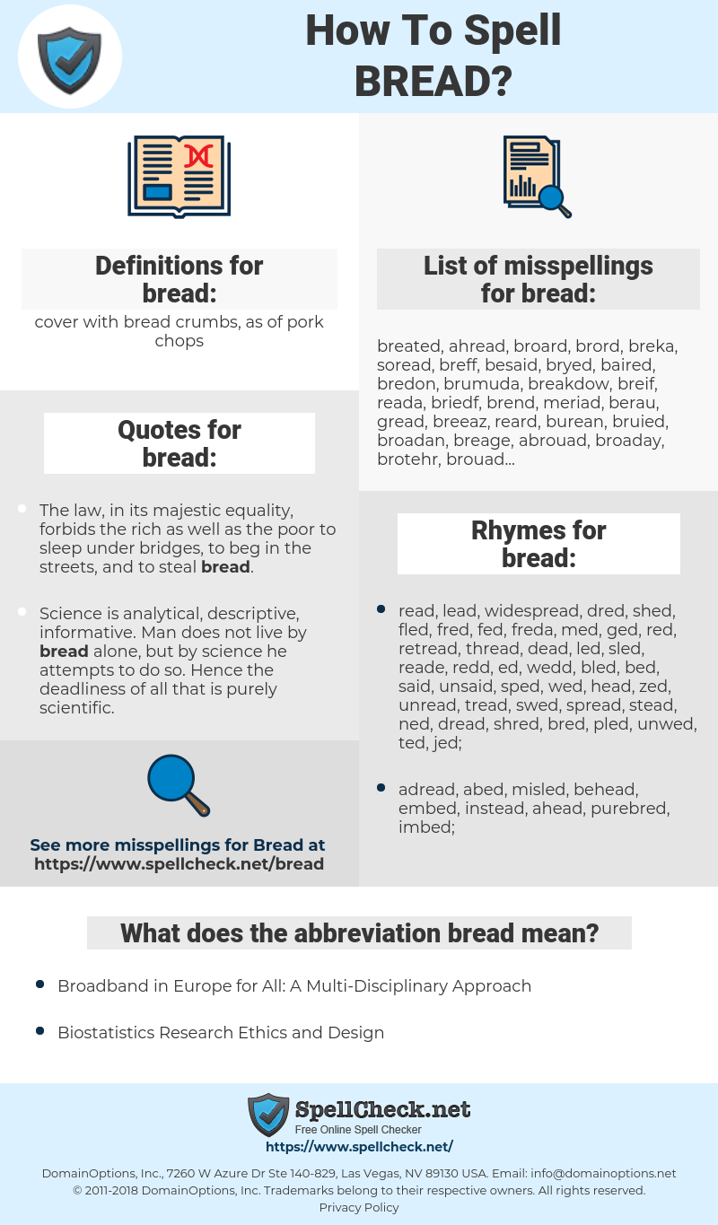 bread, spellcheck bread, how to spell bread, how do you spell bread, correct spelling for bread