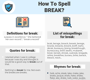 break, spellcheck break, how to spell break, how do you spell break, correct spelling for break