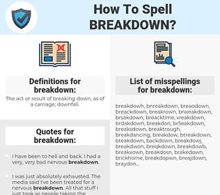 breakdown, spellcheck breakdown, how to spell breakdown, how do you spell breakdown, correct spelling for breakdown