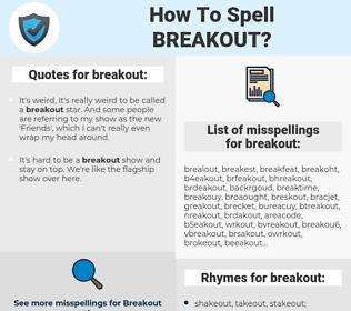 breakout, spellcheck breakout, how to spell breakout, how do you spell breakout, correct spelling for breakout