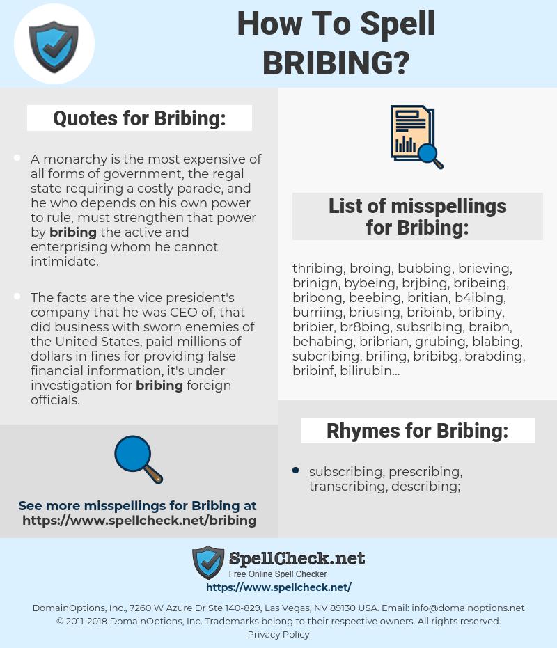 Bribing, spellcheck Bribing, how to spell Bribing, how do you spell Bribing, correct spelling for Bribing