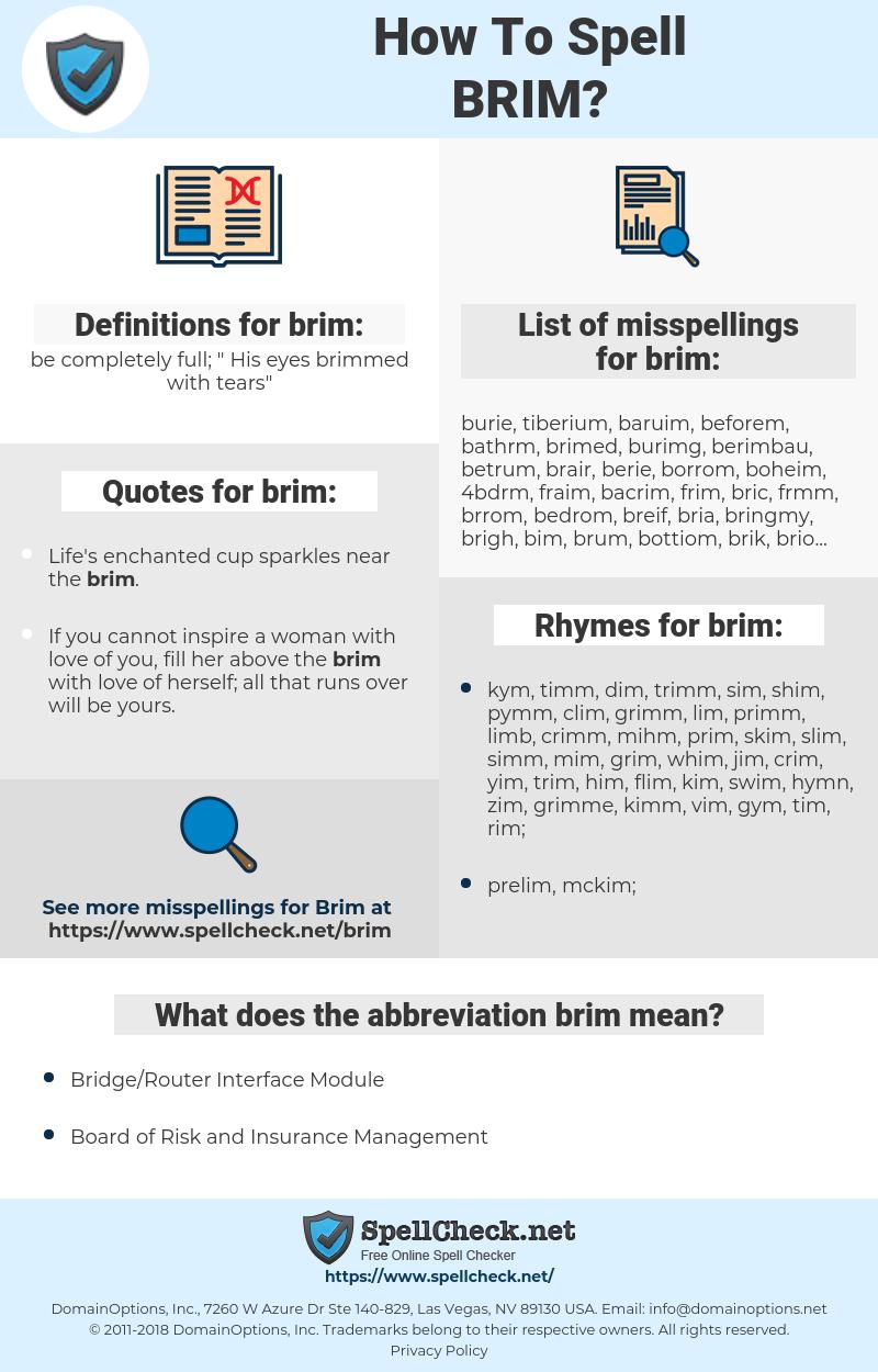 brim, spellcheck brim, how to spell brim, how do you spell brim, correct spelling for brim