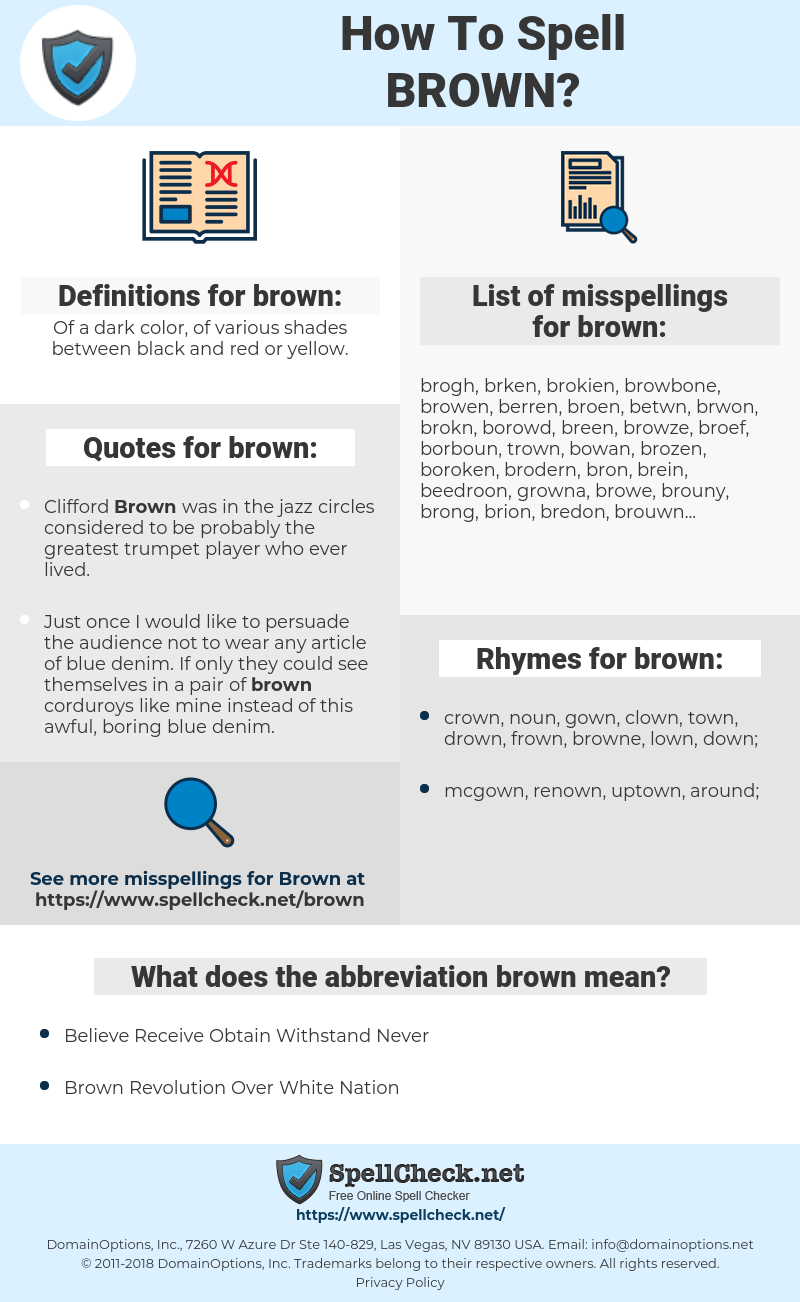 brown, spellcheck brown, how to spell brown, how do you spell brown, correct spelling for brown