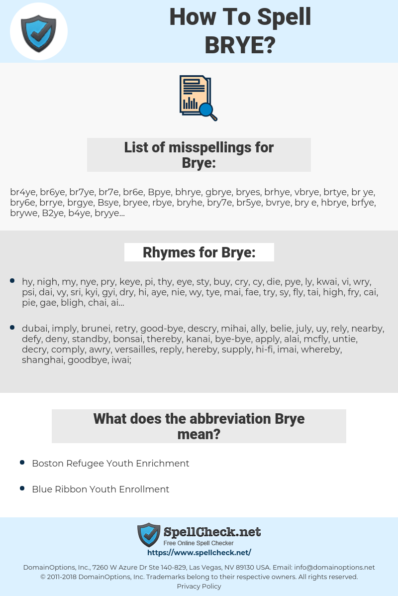 Brye, spellcheck Brye, how to spell Brye, how do you spell Brye, correct spelling for Brye