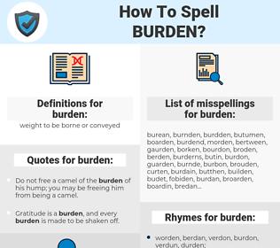 burden, spellcheck burden, how to spell burden, how do you spell burden, correct spelling for burden