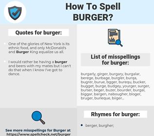 burger, spellcheck burger, how to spell burger, how do you spell burger, correct spelling for burger