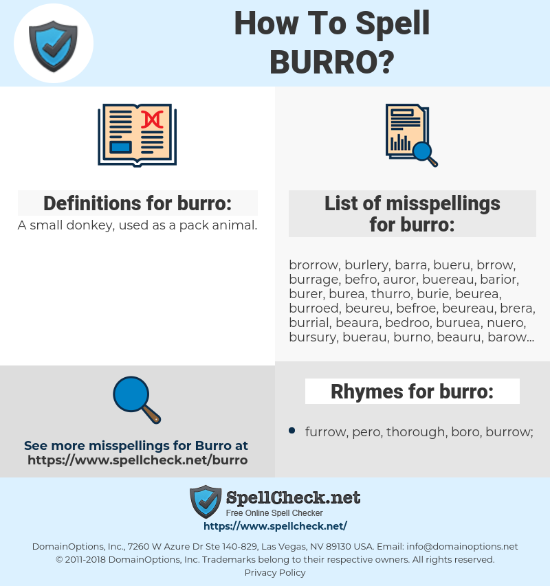 burro, spellcheck burro, how to spell burro, how do you spell burro, correct spelling for burro