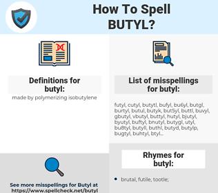 butyl, spellcheck butyl, how to spell butyl, how do you spell butyl, correct spelling for butyl