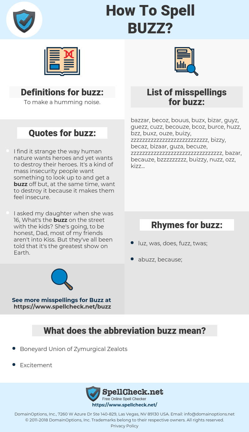 buzz, spellcheck buzz, how to spell buzz, how do you spell buzz, correct spelling for buzz