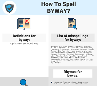 byway, spellcheck byway, how to spell byway, how do you spell byway, correct spelling for byway