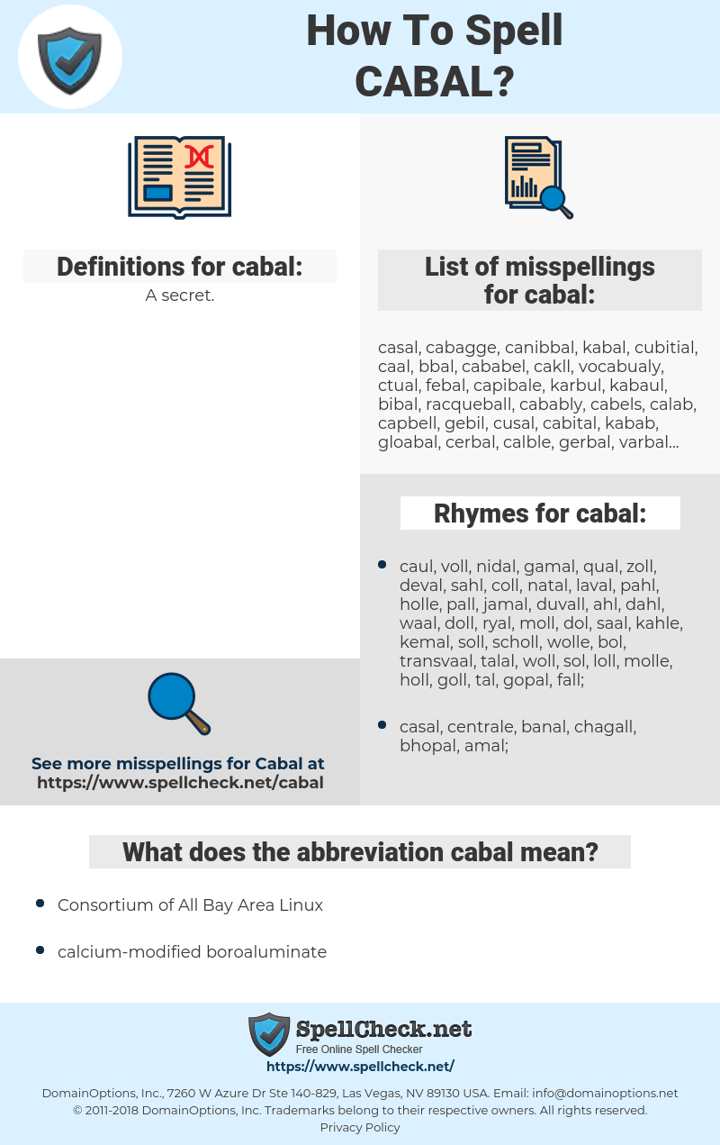 cabal, spellcheck cabal, how to spell cabal, how do you spell cabal, correct spelling for cabal