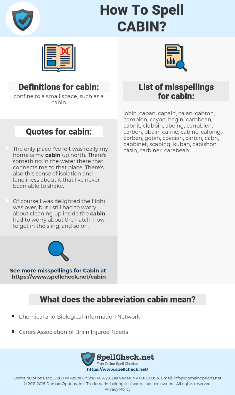 cabin, spellcheck cabin, how to spell cabin, how do you spell cabin, correct spelling for cabin