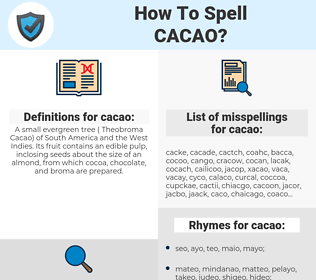 cacao, spellcheck cacao, how to spell cacao, how do you spell cacao, correct spelling for cacao