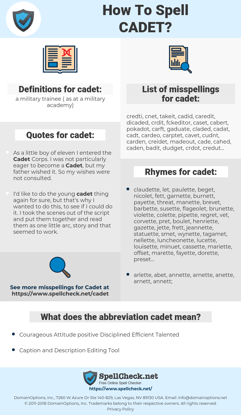 cadet, spellcheck cadet, how to spell cadet, how do you spell cadet, correct spelling for cadet