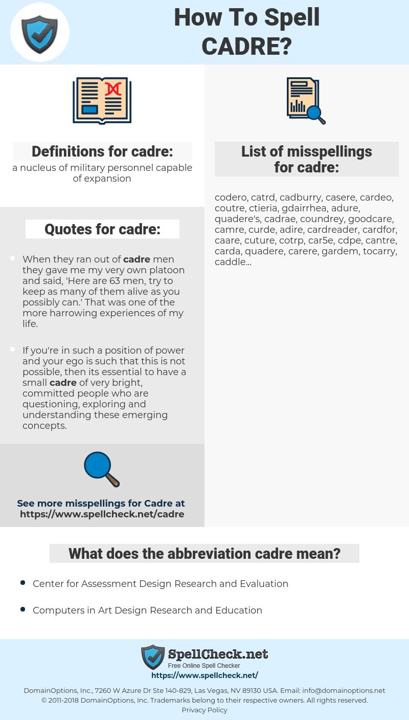 cadre, spellcheck cadre, how to spell cadre, how do you spell cadre, correct spelling for cadre