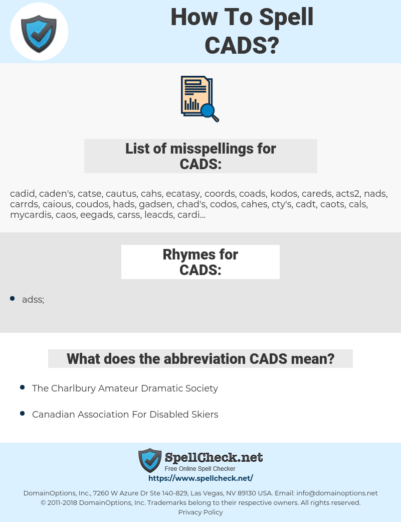 CADS, spellcheck CADS, how to spell CADS, how do you spell CADS, correct spelling for CADS