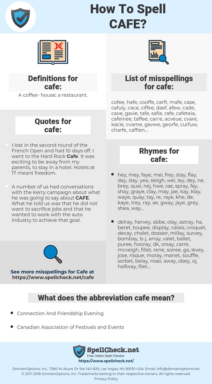 cafe, spellcheck cafe, how to spell cafe, how do you spell cafe, correct spelling for cafe