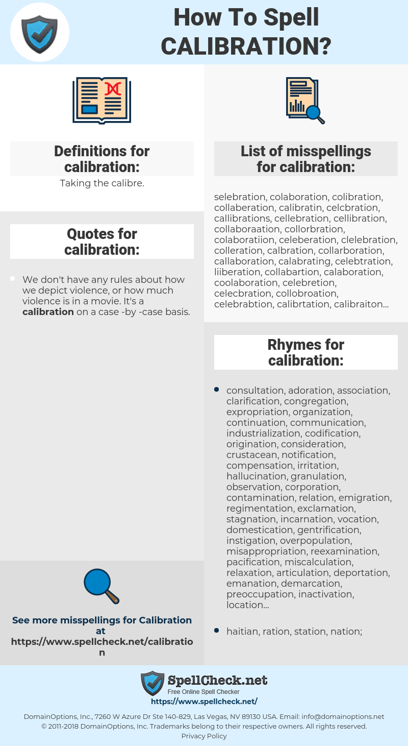 calibration, spellcheck calibration, how to spell calibration, how do you spell calibration, correct spelling for calibration