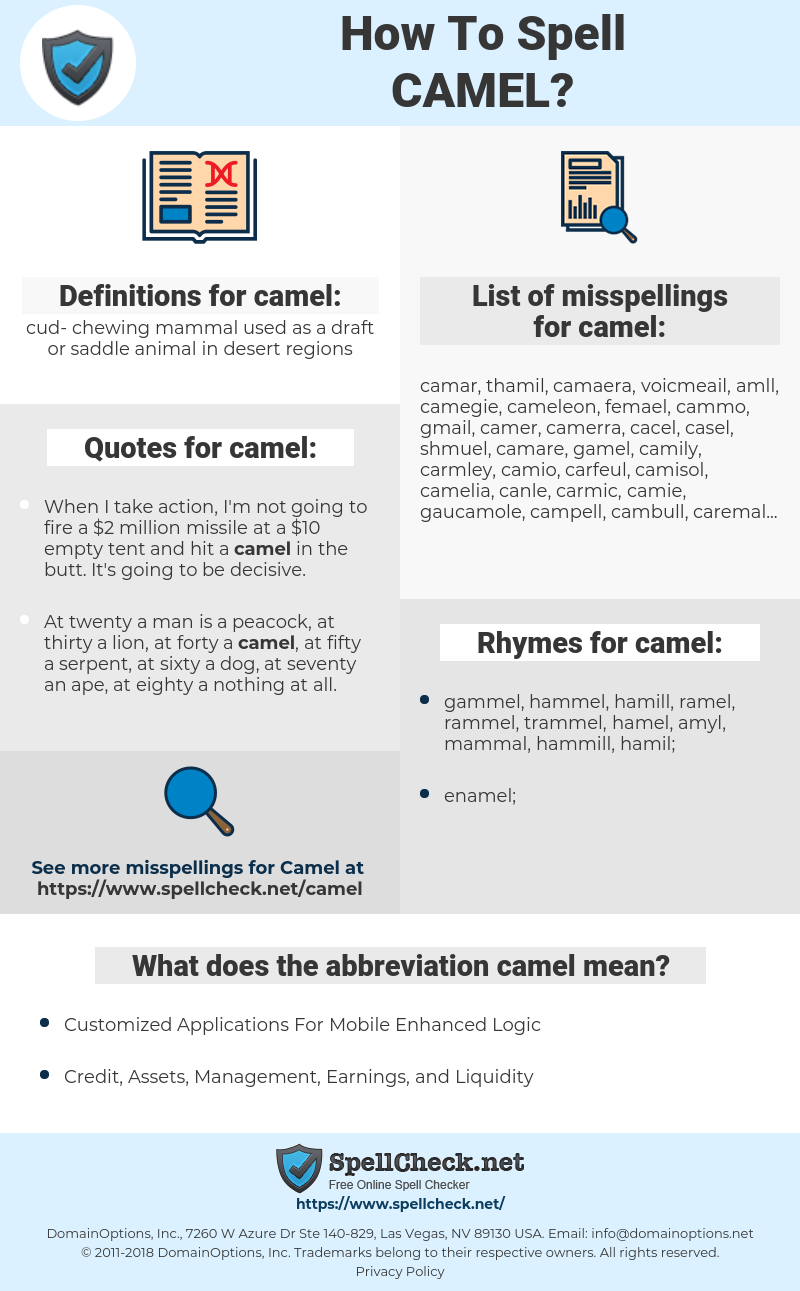 camel, spellcheck camel, how to spell camel, how do you spell camel, correct spelling for camel