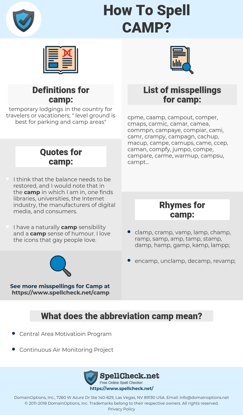 camp, spellcheck camp, how to spell camp, how do you spell camp, correct spelling for camp