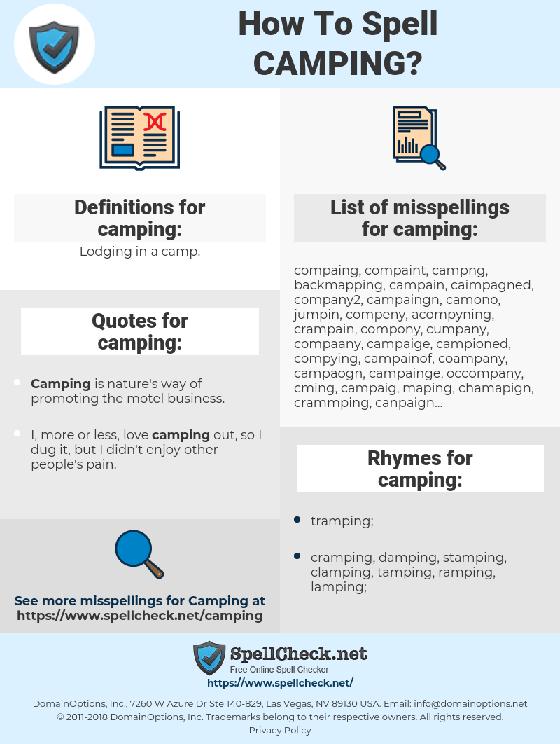 camping, spellcheck camping, how to spell camping, how do you spell camping, correct spelling for camping