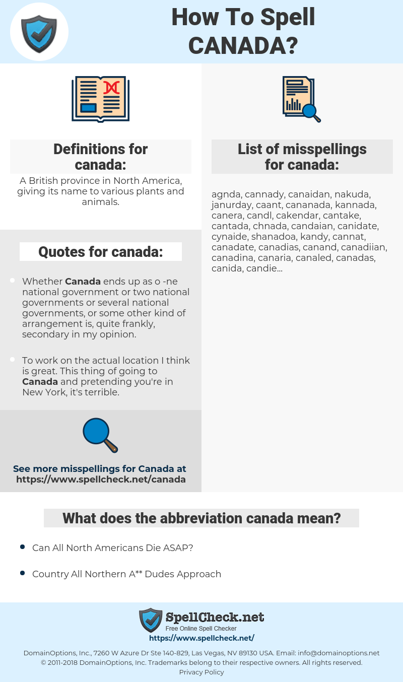 canada, spellcheck canada, how to spell canada, how do you spell canada, correct spelling for canada