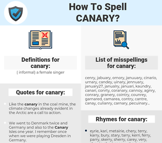 canary, spellcheck canary, how to spell canary, how do you spell canary, correct spelling for canary