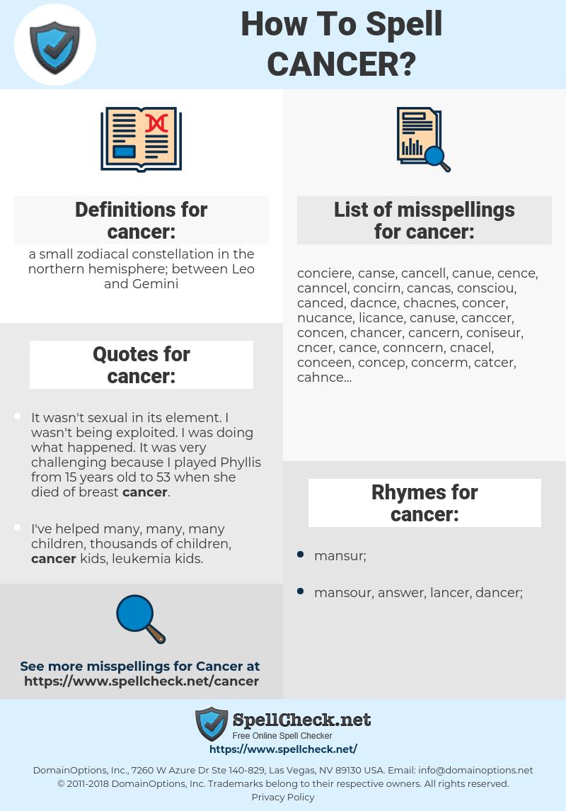 cancer, spellcheck cancer, how to spell cancer, how do you spell cancer, correct spelling for cancer